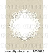 Vector Clip Art of Retro White Floral Diamond Frame over a Canvas Texture by KJ Pargeter