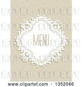 Vector Clip Art of Retro White Floral Diamond Frame with Menu Text over a Canvas Texture by KJ Pargeter