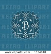 Vector Clip Art of Retro White Frame with Swirls and a Letter B Monogram over Blue by KJ Pargeter