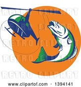 Vector Clip Art of Retro White Green and Blue Barramundi Asian Sea Bass Fish Jumping and Swallowing a Fishing Line Attached to a Helicopter by Patrimonio