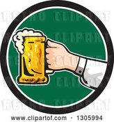 Vector Clip Art of Retro White Hand Holding out a Frothy Beer Mug in a Black White and Green Circle by Patrimonio