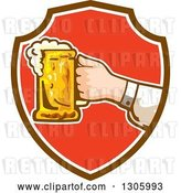 Vector Clip Art of Retro White Hand Holding out a Frothy Beer Mug in a Brown White and Red Shield by Patrimonio
