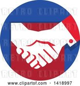 Vector Clip Art of Retro White Hands Shaking in a Red and Blue Circle by Patrimonio
