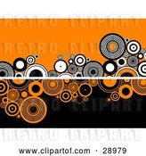 Vector Clip Art of Retro White Line Dividing Circles on an Orange Background on the Top and Orange and Black Circles on a Black Background on the Bottom by KJ Pargeter
