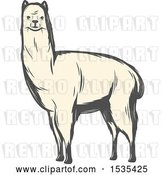 Vector Clip Art of Retro White Llama, in Style by Vector Tradition SM