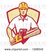 Vector Clip Art of Retro White Male Arborist Using a Chainsaw and Emerging from a Red and Yellow Sunshine Shield by Patrimonio