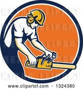 Vector Clip Art of Retro White Male Arborist Using a Chainsaw in a Blue White and Orange Circle by Patrimonio