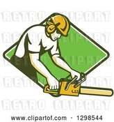 Vector Clip Art of Retro White Male Arborist Using a Chainsaw in a Green and White Diamond by Patrimonio