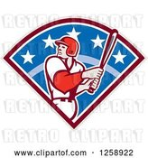 Vector Clip Art of Retro White Male Baseball Player Batting in a Diamond by Patrimonio