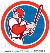 Vector Clip Art of Retro White Male Baseball Player Batting in a Red White and Blue Circle by Patrimonio