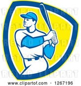 Vector Clip Art of Retro White Male Baseball Player Batting Inside a Yellow Blue and White Shield by Patrimonio