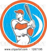 Vector Clip Art of Retro White Male Baseball Player Batting Inside an Orange White and Blue Circle by Patrimonio