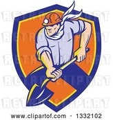 Vector Clip Art of Retro White Male Coal Miner Digging with a Spade Shovel, with Light Shining from His Helmet, in a Blue Yellow and Orange Shield by Patrimonio