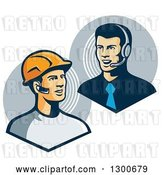 Vector Clip Art of Retro White Male Construction Worker Communicating to a Telemarketer or Boss with Bluetooth Ear Pieces by Patrimonio