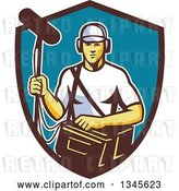 Vector Clip Art of Retro White Male Film Crew Sound Guy in a Shield by Patrimonio