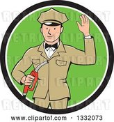 Vector Clip Art of Retro White Male Gas Station Attendant Jockey Holding a Nozzle and Waving in a Black White and Green Circle by Patrimonio