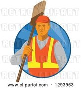 Vector Clip Art of Retro White Male Janitor Holding a Broom over His Shoulder in a Blue Circle of Rays by Patrimonio