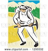Vector Clip Art of Retro White Male Miner Working with a Pickaxe by Patrimonio