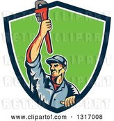 Vector Clip Art of Retro White Male Plumber Holding up a Monkey Wrench and Emerging from a Blue White and Green Shield by Patrimonio