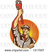 Vector Clip Art of Retro White Male Plumber Holding up a Monkey Wrench and Emerging from a Sunset Ray Circle by Patrimonio