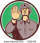 Vector Clip Art of Retro White Male Police Officer Gesturing Stop with His Hand Inside a Brown White and Green Circle by Patrimonio