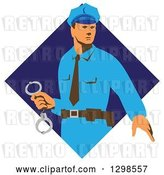 Vector Clip Art of Retro White Male Police Officer Holding Cuffs in a Blue Diamond by Patrimonio