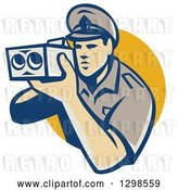 Vector Clip Art of Retro White Male Police Officer Using a Speed Radar Camara and Emerging from a Yellow Circle by Patrimonio
