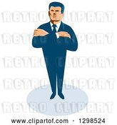 Vector Clip Art of Retro White Male Secret Agent Standing with Folded Arms by Patrimonio