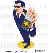 Vector Clip Art of Retro White Male Secret Agent Wearing Sunglasses and Holding up an Id Badge by Patrimonio