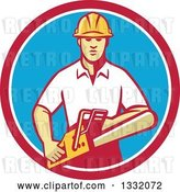 Vector Clip Art of Retro White Male Tree Surgeon Arborist Holding a Chainsaw in a Red White and Blue Circle by Patrimonio