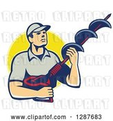 Vector Clip Art of Retro White Male Worker Holding a Hole Driller over a Yellow Circle by Patrimonio