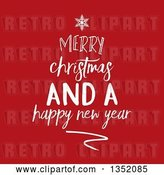 Vector Clip Art of Retro White Merry Christmas and a Happy New Year Greeting Forming a Tree over Red by KJ Pargeter