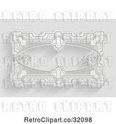 Vector Clip Art of Retro White Ornate Art Deco Frame on Gray with Shadows by AtStockIllustration