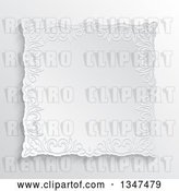 Vector Clip Art of Retro White Ornate Embossed Floral Frame over Shading by KJ Pargeter