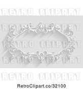 Vector Clip Art of Retro White Ornate Floral Frame, on Gray with Shadows by AtStockIllustration