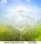 Vector Clip Art of Retro White Ornate Frame over a Blue and Green Geometric Background by KJ Pargeter