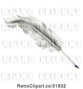 Vector Clip Art of Retro White Plume Feather Quill Pen by AtStockIllustration