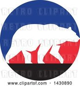 Vector Clip Art of Retro White Silhouetted Grizzly Bear Walking in a Blue, Red and Black Circle by Patrimonio