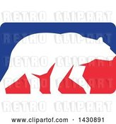 Vector Clip Art of Retro White Silhouetted Grizzly Bear Walking in a Red and Blue Rectangle by Patrimonio