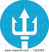 Vector Clip Art of Retro White Silhouetted Three Pronged Trident in a Blue Circle by Patrimonio