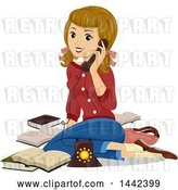 Vector Clip Art of Retro White Teenage Girl Sitting on the Floor and Talking on the Phone by BNP Design Studio