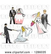 Vector Clip Art of Retro White Wedding Couples Standing, Walking and Dancing by Vector Tradition SM