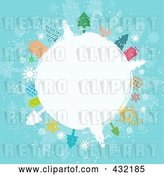 Vector Clip Art of Retro White Winter Globe Circled in Snowmen, Trees, Angels, and Gifts on Blue by KJ Pargeter