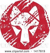 Vector Clip Art of Retro White Wolf Head in a Red Scratched Grungy Circle by Patrimonio