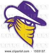 Vector Clip Art of Retro White Yellow and Purple Cowboy Outlaw in a Bandana by Patrimonio