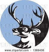 Vector Clip Art of Retro Whitetail Deer Buck Head in a Blue Circle by Patrimonio