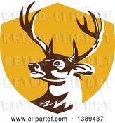Vector Clip Art of Retro Whitetail Deer Buck Head in a Yellow Shield by Patrimonio