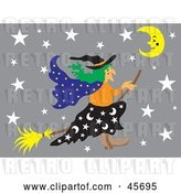 Vector Clip Art of Retro Wicked Witch Flying Through a Gray Starry Night on Her Broom Stick by Pauloribau
