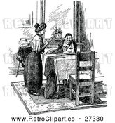 Vector Clip Art of Retro Wife Serving Her Husband a Meal by Prawny Vintage