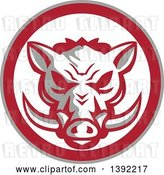 Vector Clip Art of Retro Wild Boar Head in a Gray Red and White Circle by Patrimonio